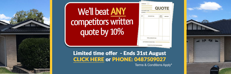 Get 10 percent off ANY competitors written quote  (T&Cs Apply) - Call Bryce Today: 0487509027